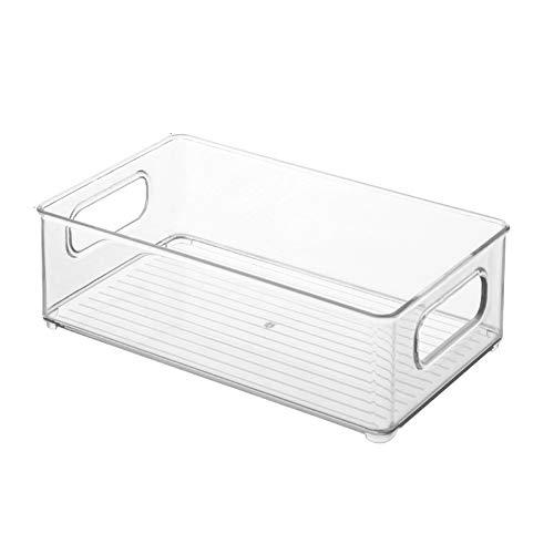 Goutui Organizador de refrigerador, organizador apilable, caja de almacenamiento con asas de recorte para gabinetes de congelador