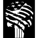 Chase Grace Studio Punisher Skull Flag America USA Military Vinyl Decal Sticker White Cars Trucks Vans SUV Laptop Wall Art 5.5' X 4' CGS113