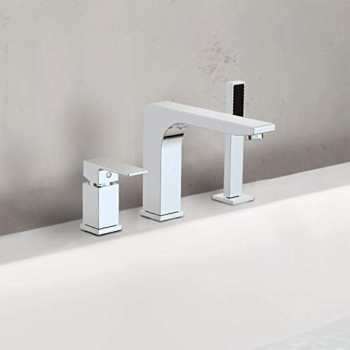 Ultra Faucets Icon Collection Roman Tub Faucet with Hand Shower, Rough-In Valve Included (Chrome)