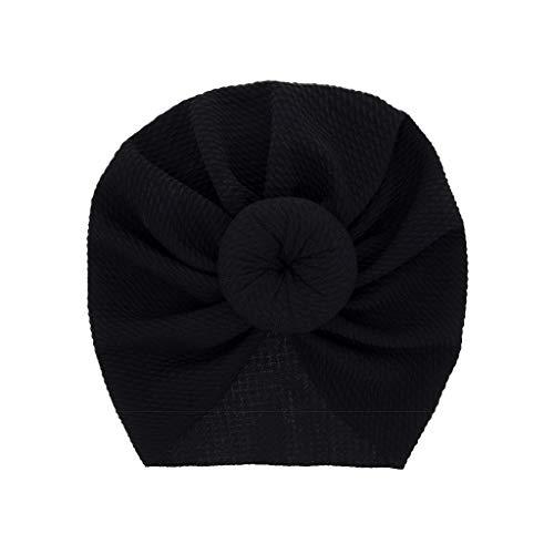 LABIUO 12 Couleurs Style Indien Noeuds Bonnet Bébé, Mode Chapeau Bandeau Turban Noeud Mou Tête Wraps pour Bébé Filles Bonnet Nouveau-Né Tout-Petits pour 0-2 Ans(Noir,Taille Unique)