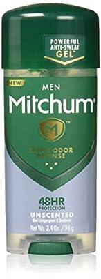 Mitchum Antiperspirant Deodorant Stick for Men, Triple Odor Defense Gel, 48 Hr Protection, Dermatologist Tested, Alcohol Free, Unscented, 3.4 oz