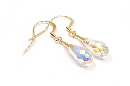 Pendientes mujer bañados en oro con cristal de Swarovski Elements®, pendientes elegantes, PE160054