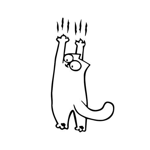 Etiqueta engomada del coche del gato Vinilo removible etiqueta para el ordenador portátil de la tableta de Windows Casco decoración de la pared del coche del carro de la motocicleta Negro