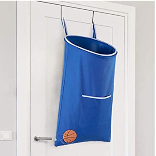 Kinderkorb – Spaß über der Tür für Kinderzimmer – Kinderkorb für Jungen mit Sockenfach für Basketballkorb für Jungenzimmer – Basketball-Wäschekorb zum Aufhängen – platzsparend (blau)