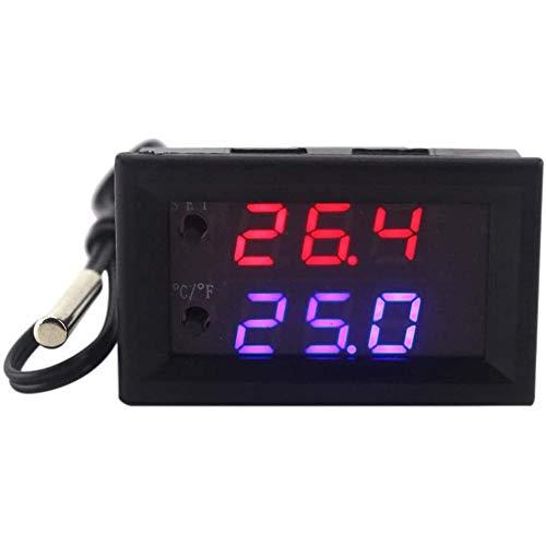 DC 12 V Contrôleur numérique Thermostat programmable LED Mini thermomètre microordinateur Contrôle de la température réglable Contrôleur Thermocontact Module,Noir