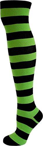 normani® Damen Overknees Geringelt, Blickdicht mit vielen Farbmustern Farbe Schwarz/Grün