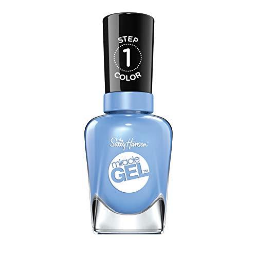 Sally Hansen Miracle Gel Nagellack ohne künstliches UV-Licht Sugar Fix, helles blau, mit intensiv glänzendem Gel-Finish, Nr. 370, (1 x 14,7 ml)
