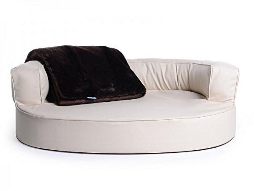 Letto per cani, divano per cani Atlanta in ecopelle, impermeabile, colore nero, scritta lingua inglese
