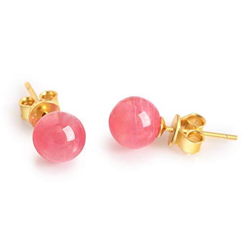 Dalwa - Pendientes de plata 925 chapados en oro para mujer con rodocrosita – perlas, regalo para madre mujeres y novia con amor, incluye paquete de regalo