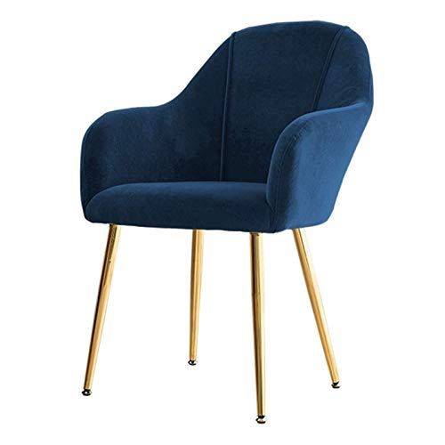 Dining Chair Velvet Electroplated Titanium Gold Legs Side Chair with Arms and Back Support Lounge Chairs Living Room Furniture Modern Tulip Style (Color : Blue, Size : Golden Legs)
