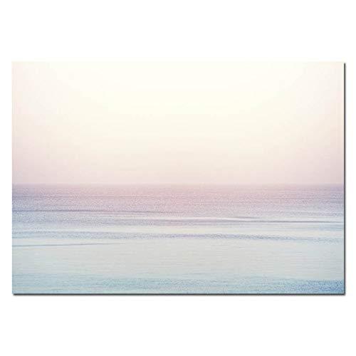LiMengQi2 Skandinavische Sonnenuntergang Ozean Stein Poster nordischen Stil drucken tropischen Seestück Bild auf Leinwand für Wand natürliche Bild Dekor für Wohnzimmer (kein Rahmen)