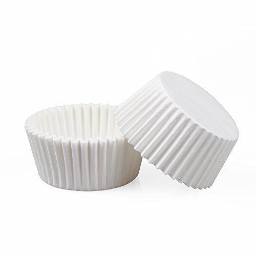 webake 500 Stück Muffin Papierförmchen Backförmchen für Muffinform Bronnie Cupcake hitzebeständig bis 220°C - Weiß