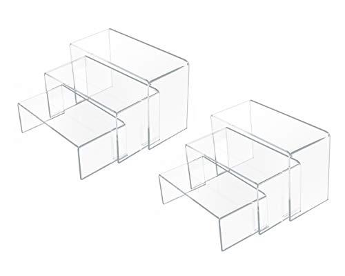 SCSpecial U-förmige Acryl Tragegurte 3, 4 und 5 Zoll breiter Satz von 6 durchsichtigen Tragegurten für Vitrinen für Display Schmuckmodelle