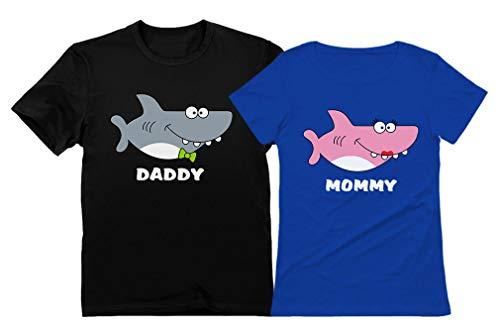 Haifisch-Shirts für Papa und Mama, Mama, Papa, Geschenk, lustiges Familien-passendes Set - - Vater-M/Mama-S