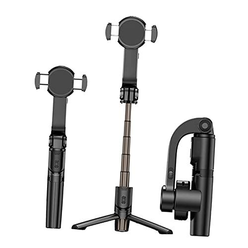 IPOTCH Estabilizador de Eje único con trípode y Palo para Selfies Bluetooth Extensibles, Control Remoto multifunción Rotación automática de 360 °