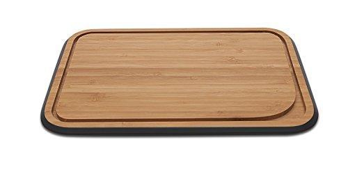 Pebbly NBA097 Planche à Découper avec Rigole Petit, Bambou, Noir, 17,5 x 25 x 1,5 cm