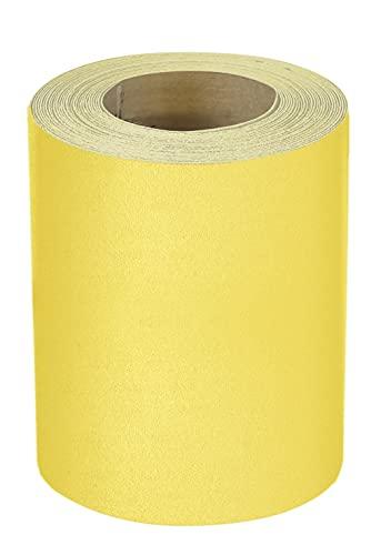 Mirka Rollo de papel de lija amarillo, 93 mm x 5 m, 1 rollo, P150, para madera dura, madera blanda, pintura, espátula, plástico