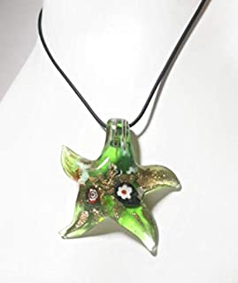 Argento Dubai Green Starfish Murano Glass Pendant Necklace