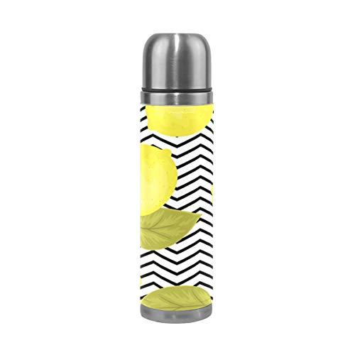 Ahomy doppelwandige Vakuumbecher, leuchtende Zitronenblätter, Chevron, Edelstahl, isoliert, Reise-Kaffeetasse, Sport-Wasserflasche, 0,5 l