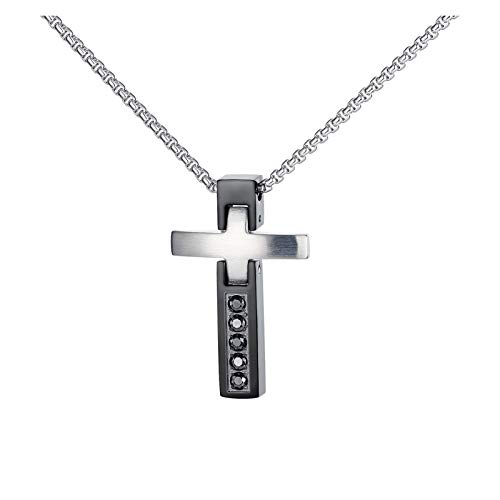 WDSFT Dainty Necklace Cross Titanium Stainless Steel Necklace for Men, Hiphop Couple Pendant Boy Sports Collar Punk Rock Gothic Choker Metal Male Chain Necklace Jewelry