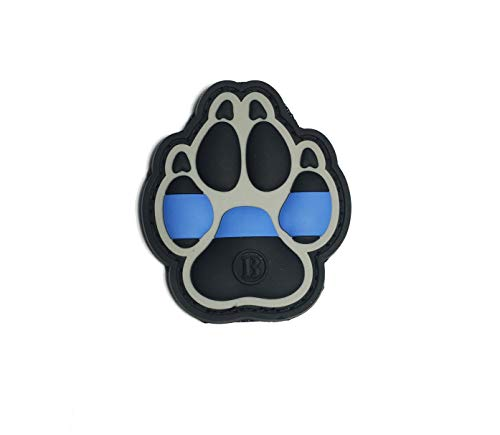 K9 Dog Paw PVC Tactical Police Law Enforcement Support - Thin Blue Line United States Flag (Hook/Loop) Patch