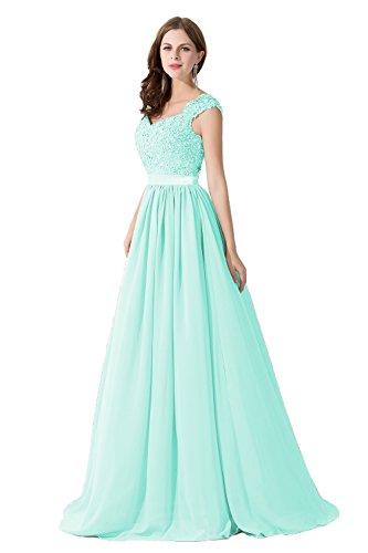 Damen Elegant Ämellos A-Linie Ballkleid Abi Kleid Maxilang Mintgrün 40