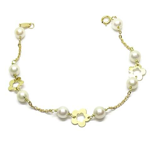 Never Say Never Pulsera Especial mi Primera Comunión de Oro Amarillo de 18ktes y 8 Perlas cultivadas