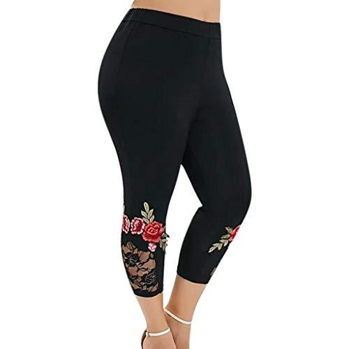 Leggings Casuales Elásticos de Talla Grande para Mujer Pantalones Deportivos con Aplique de Encaje y Empalme Leggins Fitness Cintura Alta Color Sólido Atletico Leggings Push Up Mujer Yoga Running FELZ