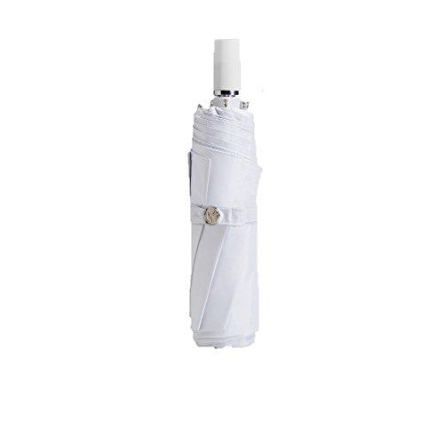 TaschenschirmeDoppelten Zweck Sonniger Regenschirm Einfach DREI Falten Super Stark, Sonnencreme, Sonnenschirme Upf50,Pure White