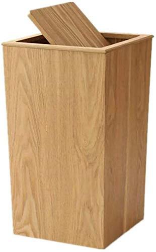 NSYNSY Papelera Papelera de Madera Grande con Tapa, Papelera Rectangular, Papelera Retro para el hogar, para baño, Cocina, Sala de Estar, SPA B, 23,4x23,4x40,6 cm (9x9x16 Pulgadas)