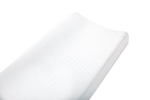 aden + anais Essentials Changing Pad Cover, 100% Cotton Muslin, Super Soft, Breathable, Tailored Snug Fit, Single, Solid White