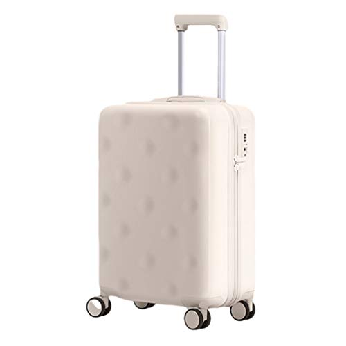 Men Women Suitcases, High Value Internet Celebrity Student Suitcases, Universal Wheel Trolley Luggage Suitcases, TSA Password Lock PC Material(Color:White,Size: 24 inches)