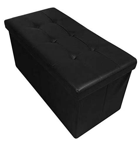 HomeHarmony Folding Storage Ottoman Seat, Stool, Toy Storage Box Faux Leather (Black large)