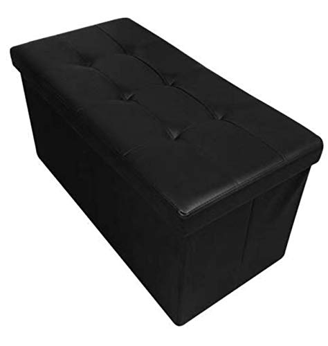 HomeHarmony Folding Storage Ottoman Seat, Stool, Toy Storage Box Faux Leather...