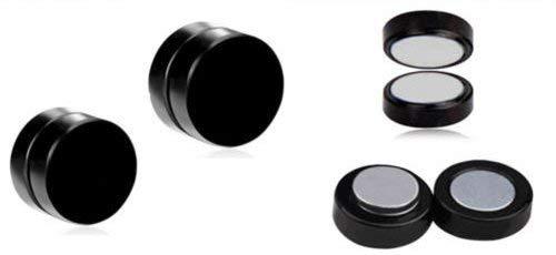 Hunky Dory 8mm Black Barbell Magnetic Non-Piercing Stainless Steel Earring Studs For Men Women (1 Pair)
