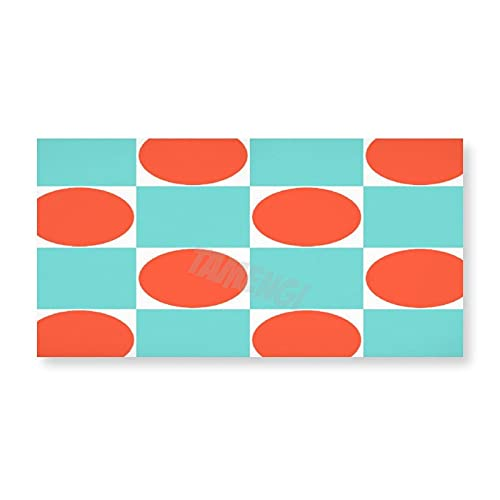 Decoración de Baño Lienzo de Pared Enmarcada Decoración de Pared Abstracta Acuarela Artwork Turquesa Y Naranja Moderno Patrón Geométrico Azulejo Gel Mouse Pad Tema Decoración 8x16 pulgadas