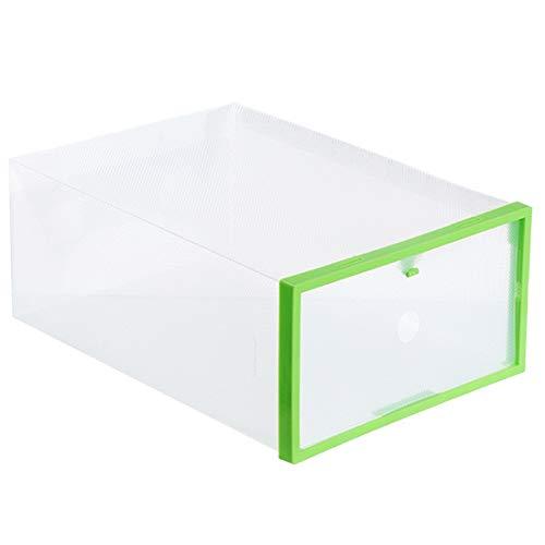 QQJL Caja de Zapatos Transparente y Espesa de plástico DIY cajón Plegable Organizador de Zapatos 2-10 apilable,Verde,10