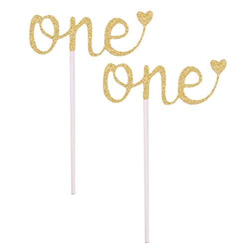 NUOBESTY 1St Birthday Topper Glitter One Cake Topper Gold Cupcake Picks Fruit Fruit Sign for Engagement Wedding Party Cake Decoration 10Pcs