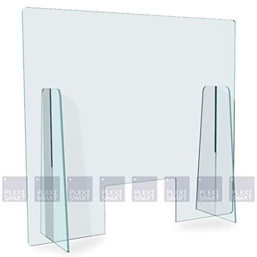 Plexismart Barriera Parafiato XL 100 cm - Pannello Divisorio di Protezione in Plexiglass per banco uffici, farmacie, esercizi pubblici