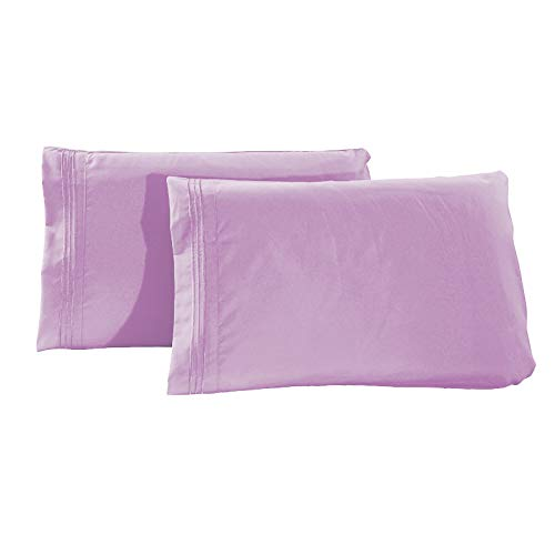 PPTS 2 pieces of plain matte pillowcases, housewife embroidered pillowcases, bedroom pillowcases (2 housewife pillowcases)