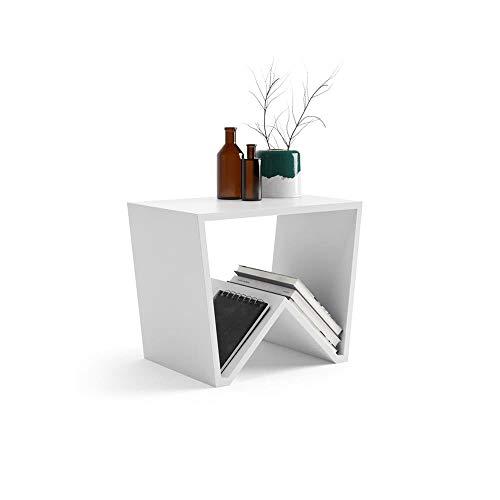 Mobili Fiver, Tavolino da Salotto Emma, Bianco Opaco, 50 x 33 x 40 cm, Nobilitato, Made in Italy