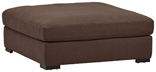 "Amazon Brand – Stone & Beam Lauren Down Filled Oversized Ottoman with Hardwood Frame, 46.5""W, Chocolate"