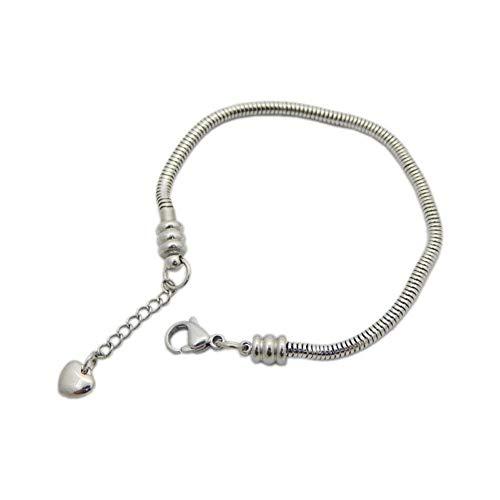 MiniJewelry - Pulsera de cadena de serpiente estilo europeo para mujer, cierre de langosta con cadena de extensión