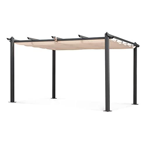 Alice's Garden Pergola Aluminium - Condate 3x4m - Toile Beige - Tonnelle idéale pour Votre terrasse. Toit Retractable. Toile coulissante. Structure Aluminium. Pieds Larges et Robustes