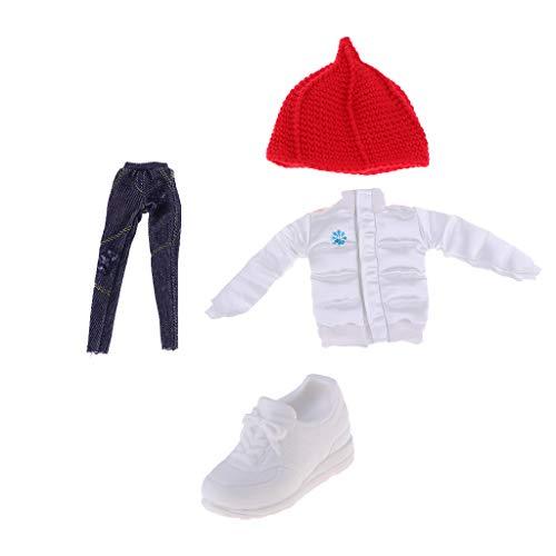 Toygogo 12 Zoll Puppe Wintermantel Weiß, Hosen, Turnschuhe & Hut Anzug Für Blythe