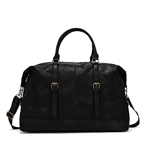 HERLING Borsone uomo/donna PASCAL vintage casual fashion viaggio similpelle (Midnight Black)