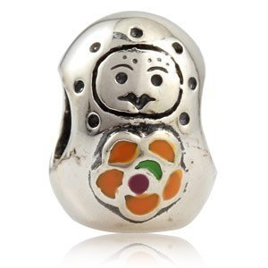 Andante-Stones 925 Sterling Silber Bead Charm Matrjoschka Puppe Element Kugel für European Beads + Organzasäckchen