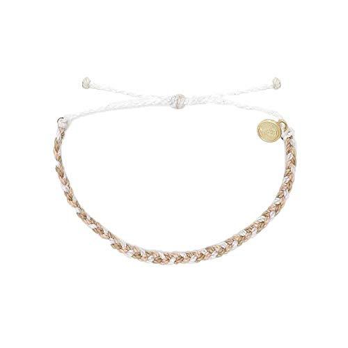 Pura Vida Leche Mini Braided Bracelet - Plated Charm, Adjustable Band - 100% Waterproof