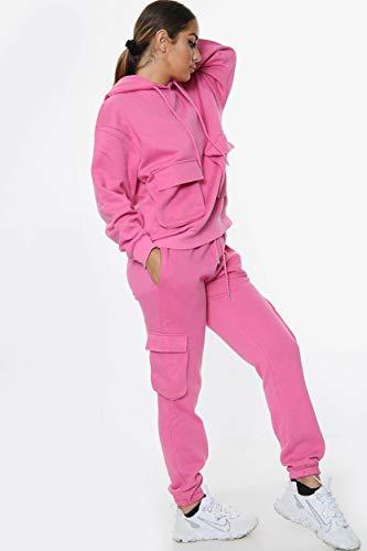 Women Front pocket Hooded Top & Cargo Bottom Full Tracksuit (Pink, M/L (UK 12-14))