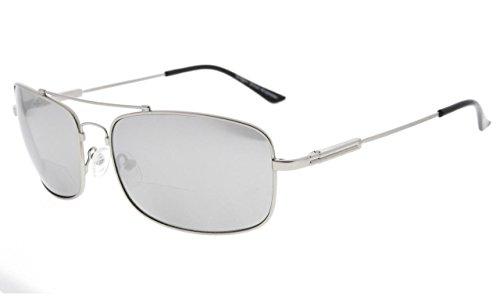 Eyekepper Bifocal zonnebril met flexibele brug en tempels geheugen lezen zonnebril lichtgewicht titanium +2.00 Zilveren Frame Zilver Spiegel
